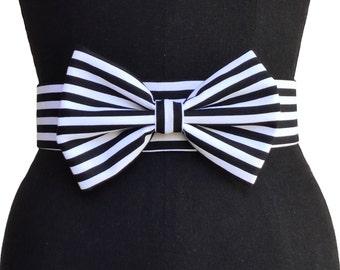 Big Bow Belt | Velvet Belt | Black and White Belt | Print Belt | Bold Belt | Pin up Belt | Vintage Belt | Elastic Belt