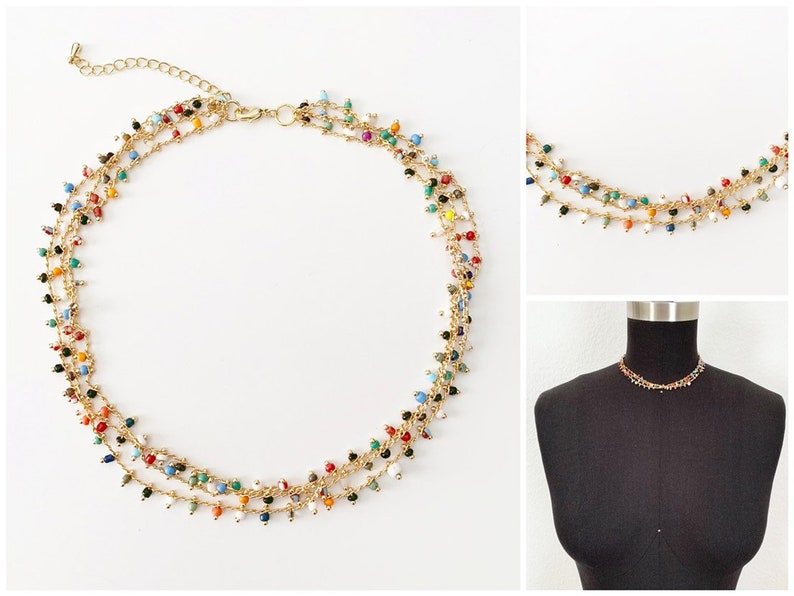 Colorful beaded choker  18k Gold Plated  Choker Necklace  image 0