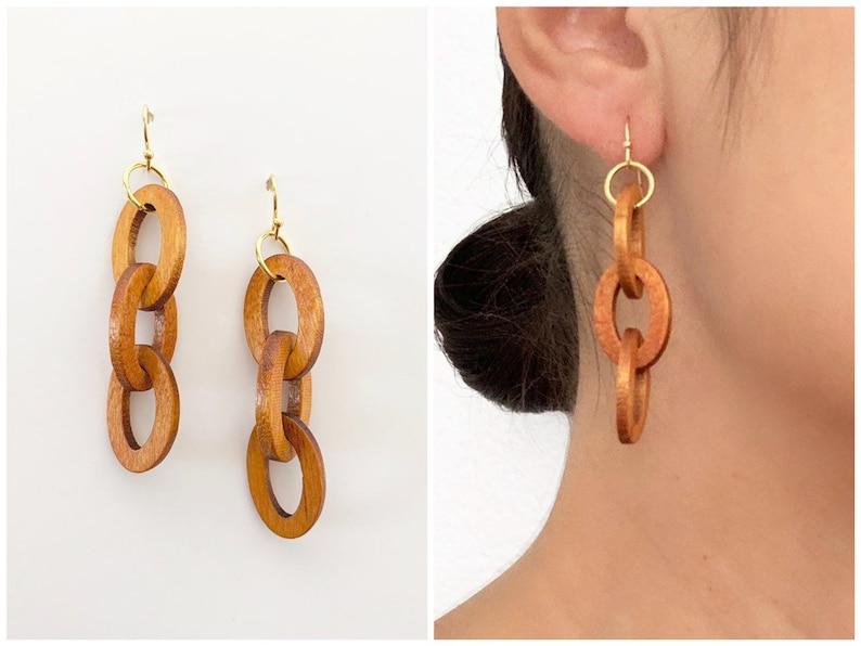 Woodstock Earrings  14k Gold  Wood Earrings  Boho Earrings image 0