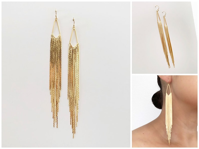 Long Dramatic Fringe Earrings  18k Gold  Statement Earrings image 0