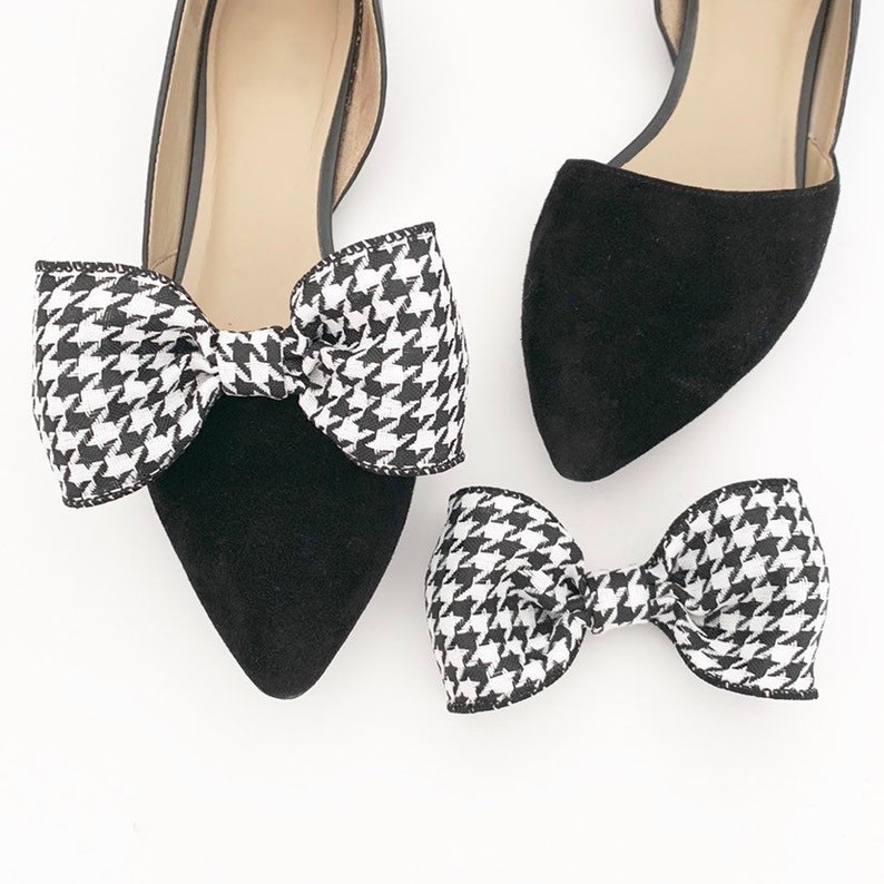 Houndstooth Shoe Clips  Bow Shoe Clips  Shoe Accessories  image 0