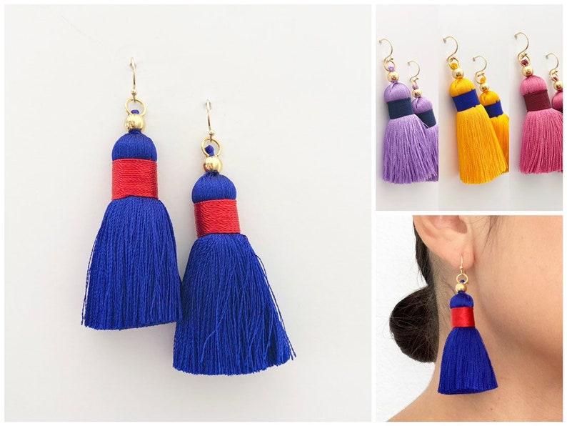 Colorful Tassel Earrings  14k Gold Findings  Tassel Earrings image 0