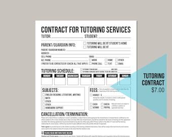 Tutoring Agreement Worksheet: Printable PDF Form