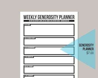 Weekly Generosity Planner - Intentional Giving