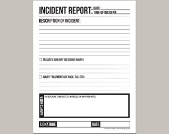 Daycare Incident Report form