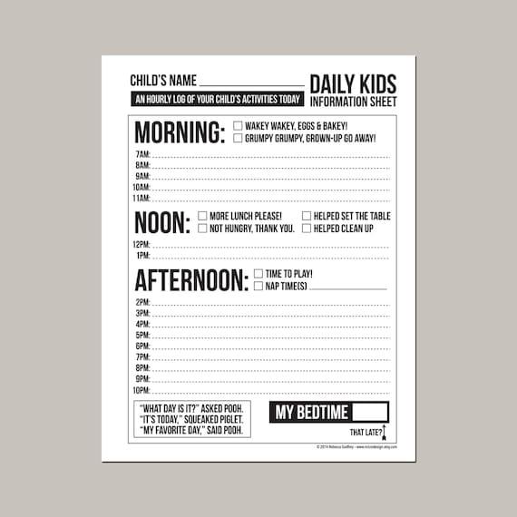 Daily Babysitting Or Nanny Report Printable Pdf Sheet