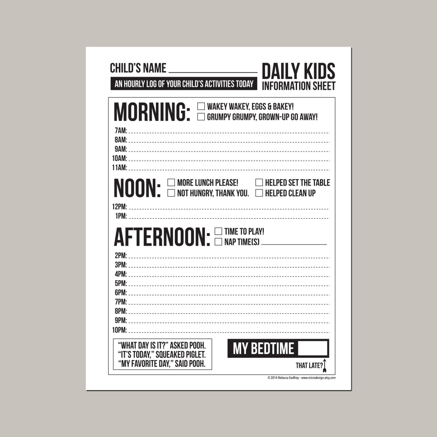 photograph relating to Daily Sheet identify Day by day Babysitting or Nanny Posting: printable pdf sheet