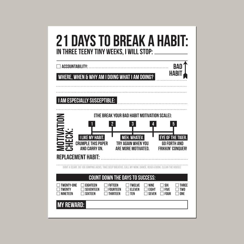 21 days to break a bad habit: printable pdf sheet image 0