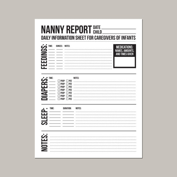photograph about Daily Sheet titled Nanny Posting: Everyday Written content Sheet for Caregivers of Babies