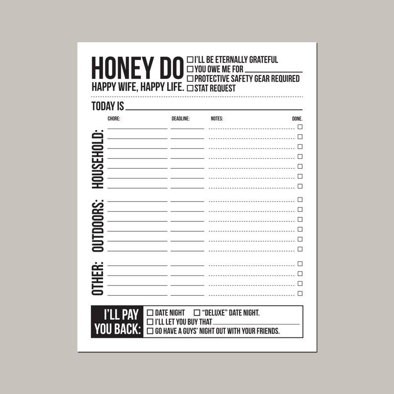instant download printable sheet: honey do list image 0
