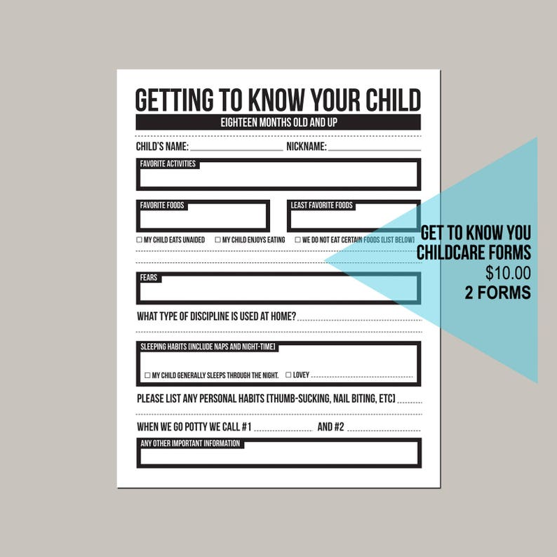 getting to know your child  childcare center forms image 0