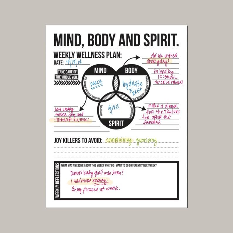 mind body spirit: weekly wellness plan  downloadable goal image 0