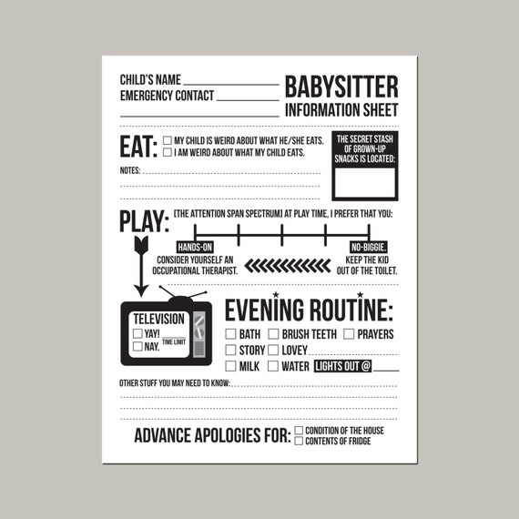 instant downloadable babysitter information sheet etsy