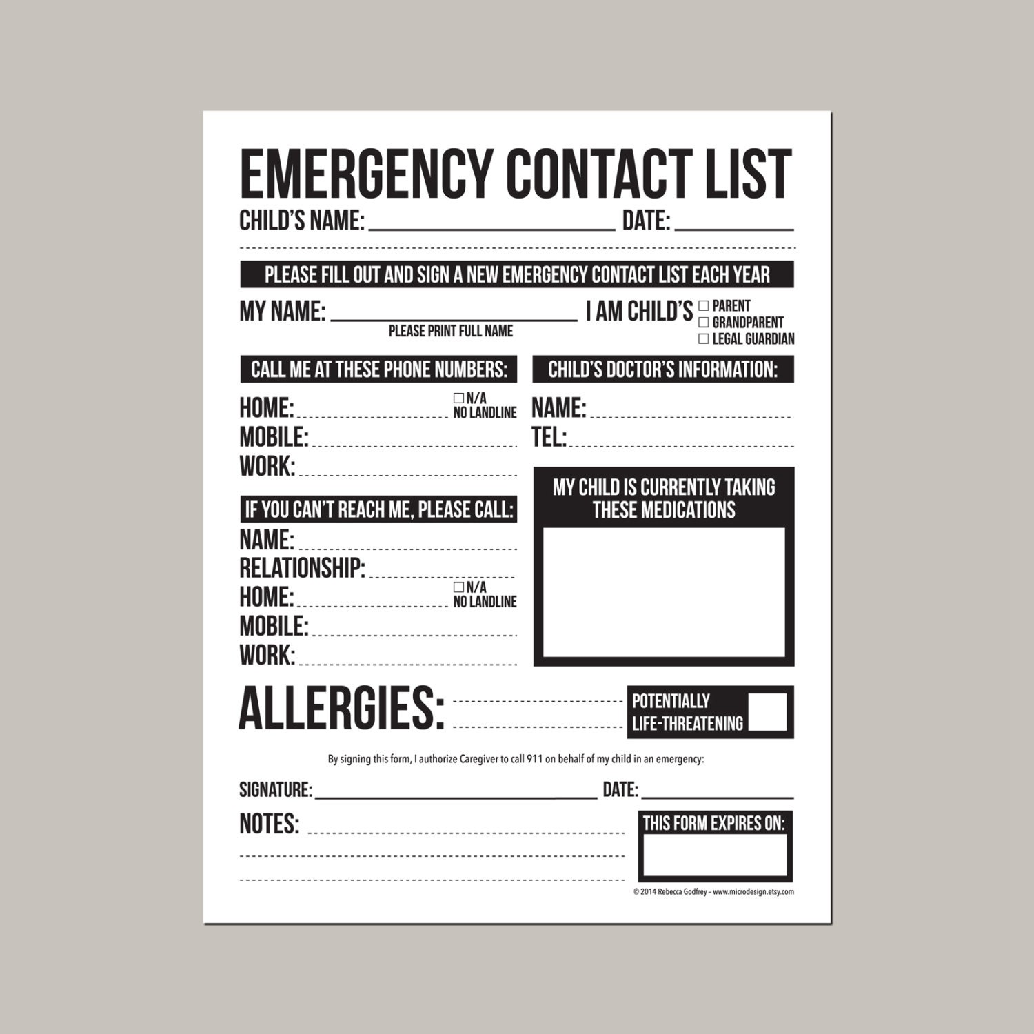 Emergency Contact Form for Nanny Babysitter or Daycare Etsy