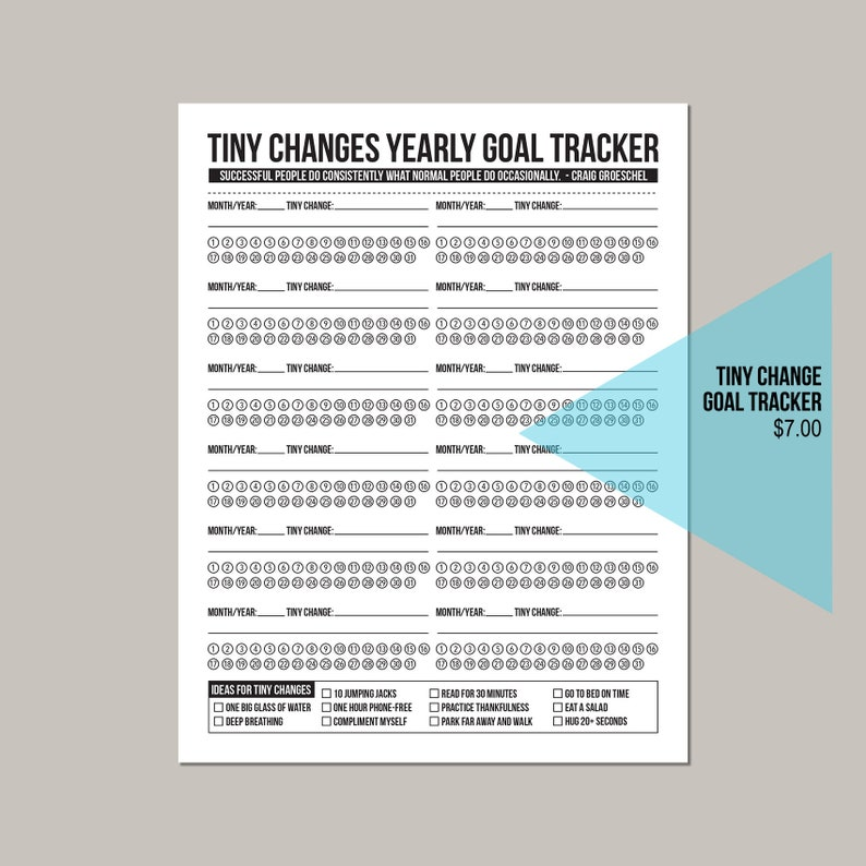 Tiny Changes: Yearly Goal Tracker image 0