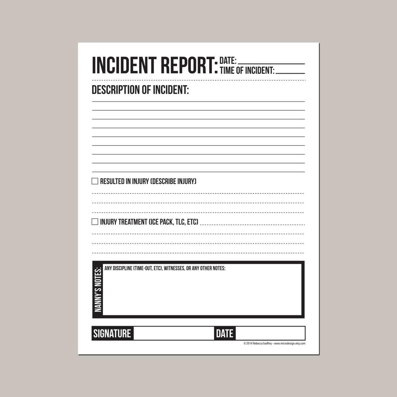 childcare incident report