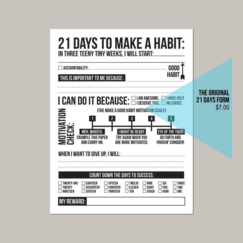The Original  21 days to make a good habit: printable pdf image 0