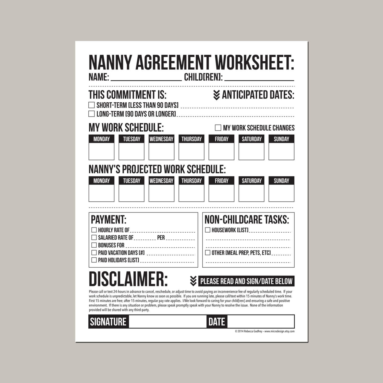 Nanny Agreement Worksheet Printable Pdf Sheet Etsy