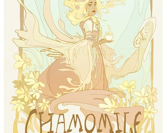Chamomile - tea lover's poster - art nouveau illustration