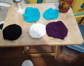 Hand crocheted coasters for drinks.