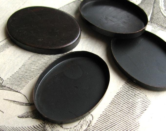 25x18mm plain edge bezel cup settings, flat edge black bezel frame, black antiqued brass blanks (4 oval trays) 18x25mm 25mm 18mm