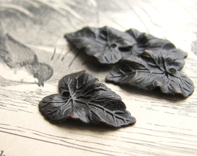 Antiqued brass leaf charms - Botanical garden leaves - aged black brass - 20mm (4 charms) black leaf charm