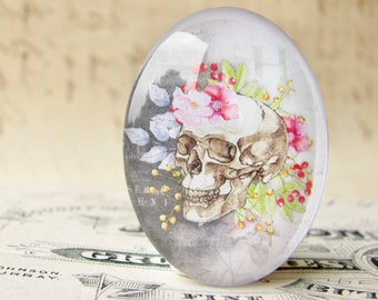 Skull with pink garden flowers, 40x30mm glass oval cabochon, Day of the Dead, Halloween, handmade in this shop, feminine macabre, bones rose
