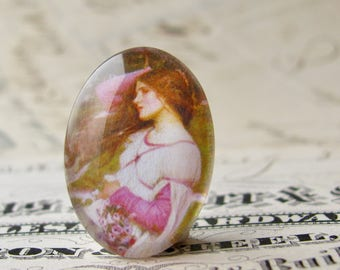 """John William Waterhouse """"Windflowers"""" 25x18mm glass oval cabochon, artisan crafted in this shop, Art History collection, photo glass"""