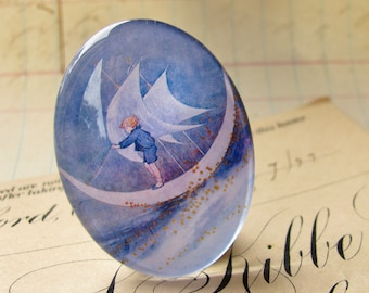 Sailing on the Moon, handmade glass oval cabochon, 25x18mm or 30x40mm, little boy blue, children's illustration, moonboat, boat, 25mm 18mm