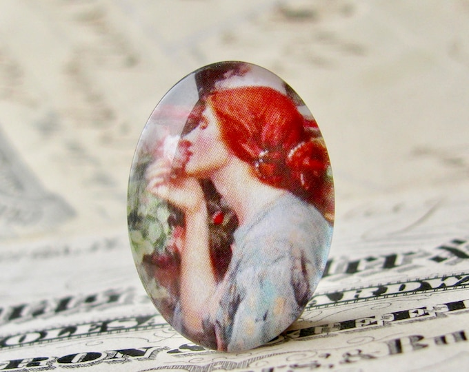 "John William Waterhouse ""Soul of the Rose"" 25x18mm glass oval cabochon, artisan crafted in this shop, Art History collection, photo glass"