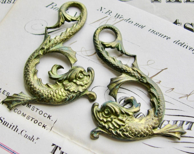 Absinthe finish, Magical koi fish pair, 45mm green patina brass pendant, left right (2 Asian dolphin drop) sea serpent,