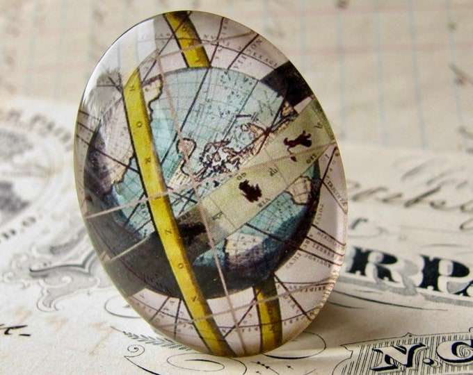 Armillary Sphere Map, celestial globe, ancient astronomy, handmade oval glass cabochon, 40x30mm or 25x18mm, sky, Historical Maps collection