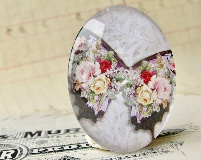 Roses on a black butterfly, William Morris wallpaper background, handmade glass oval cabochon, 40x30mm, garden, rebirth, renewal