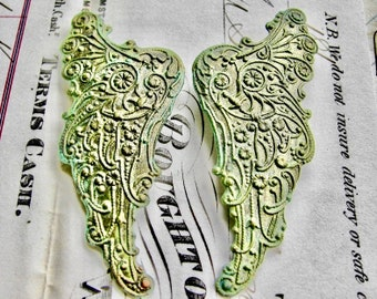"""Absinthe finish,""""Archangel"""" antiqued brass angel wing (2 green patina angel wings) pair of Art Nouveau wings, fancy finish, green fairy"""