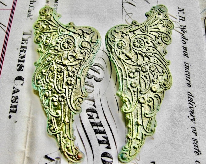 "Absinthe finish,""Archangel"" antiqued brass angel wing (2 green patina angel wings) pair of Art Nouveau wings, fancy finish, green fairy"