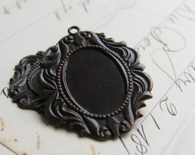 18x13mm Victorian brass frame setting - fits cameos and cabochons - antiqued black - closed back (2) 18x13 13x18 18x13mm 13x18mm CF-SV-007