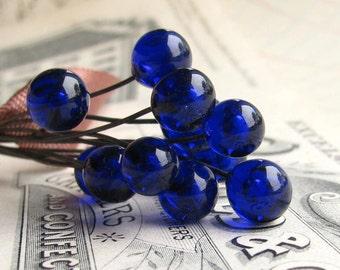 "Glass headpins ""Apothecary Bottle Blue"" 6mm round, handmade, Mykonos cobalt, 3"" long copper wire, 22 gauge 22ga, lampwork (4 head pins)"
