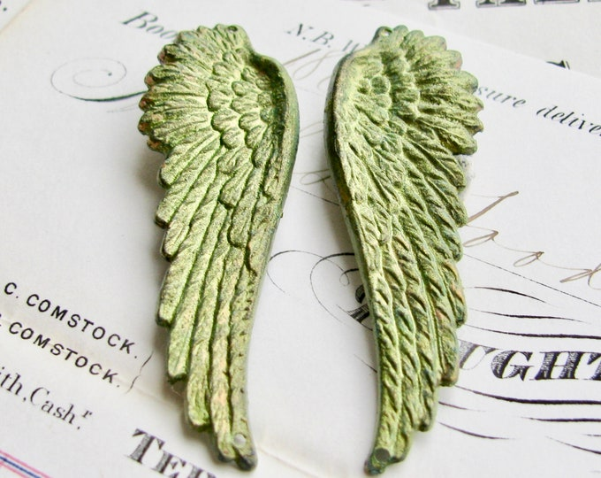 """Absinthe finish, shimmering green patina brass angel wings with top and bottom holes """"Seraphim"""" 53mm, 1 pair, connectors, links"""