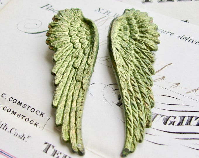 "New! Absinthe finish, shimmering green patina brass angel wings with top and bottom holes ""Seraphim"" 53mm, 1 pair, connectors, links"