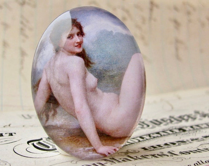 Nude woman on the beach, 40x30mm glass oval cabochon, artisan crafted, Art History, William Adolphe Bouguereau