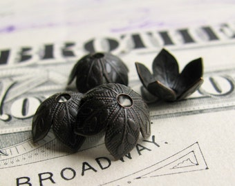 Cherry blossom bead cap, 8mm bead cap (6 black bead caps) antiqued brass, oxidized patina, nickel free, USA made, foliage, embossed, BCUT012