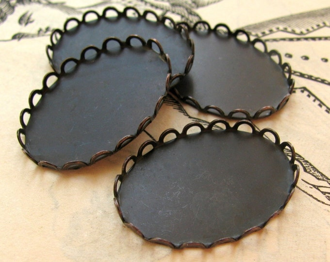 25x18mm Lace edge bezel cup settings - black antiqued brass (4 oval scalloped trays)  25x18 18x25mm frame for cabochon