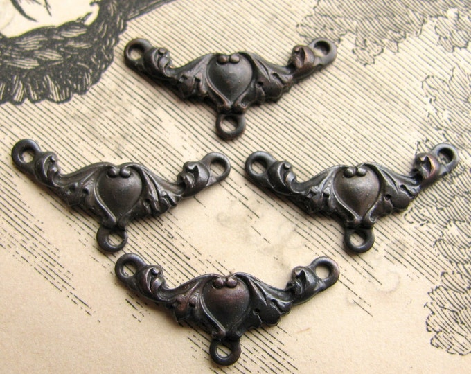 Tiny Victorian Heart necklace link - dark antiqued brass (4 links) aged black patina, Victorian Mourning