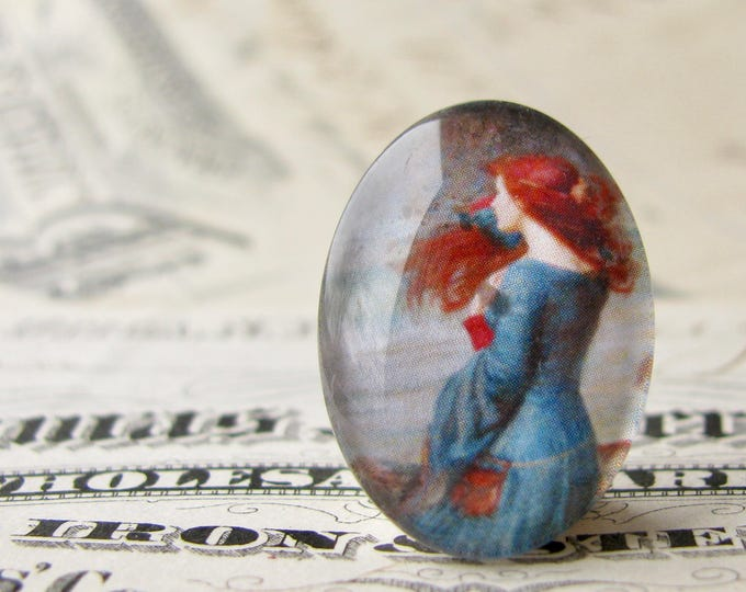 "John William Waterhouse ""Miranda"" (The Tempest) 25x18mm glass oval cabochon, artisan crafted, Art History collection, photo glass, handmade"