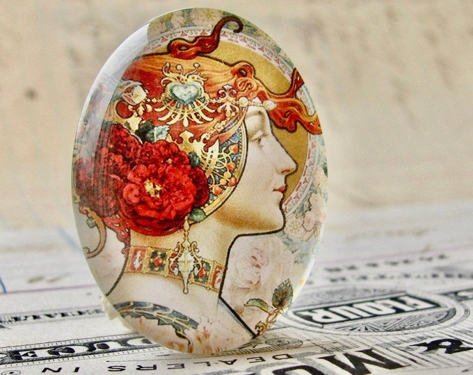 Art Nouveau vintage poster art, handmade 40x30mm or 25x18mm glass oval cabochon, Louis Théophile Hingre, commercial illustration