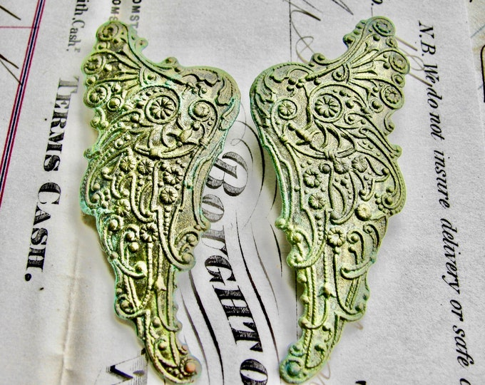 "New! Absinthe finish,""Archangel"" antiqued brass angel wing (2 green patina angel wings) pair of Art Nouveau wings, fancy finish, green fairy"
