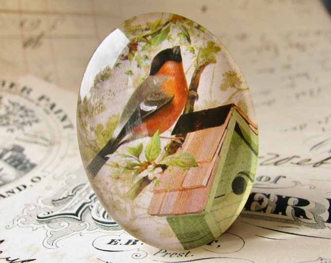 Robin sitting on a birdhouse, from our Beautiful Birds, handmade glass cabochons, 40x30mm or 25x18mm oval cabochon, garden, gardening