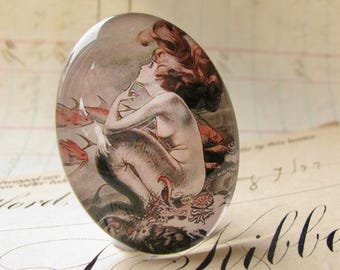 Mermaid cabochon, comic book print, handmade glass oval, 25x18mm 18x25mm, vintage cartoon drawing, from our Magical Maidens collection