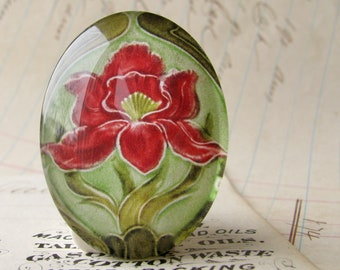 """NEW! From the """"Art Nouveau Ceramic Tiles"""" series, handmade 40x30mm glass oval cabochon, Belle Époque, red flower, green stem"""