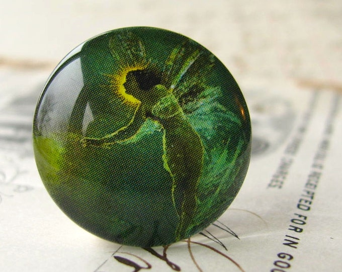 Absinthe Fairy, artisan crafted, emerald green fairy, photo glass cabochon,  handmade glass cabochon, round 22mm cabochon, flat back image